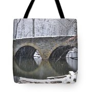 Wintertime At Bells Mill Road Tote Bag by Bill Cannon
