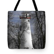 Wintry Lighthouse Tote Bag