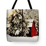 Wintry Red Barn Tote Bag