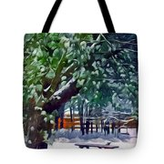 Wintry  Snowy Trees Tote Bag