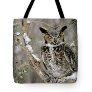 Wise Old Great Horned Owl Tote Bag
