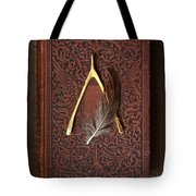 Wishbone And Feather On Antique Book Tote Bag