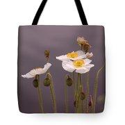 Wispy White Floral Tote Bag