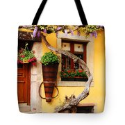 Wisteria And Yellow Wall In Alsace France Tote Bag