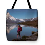 With The Matterhorn In The Background Tote Bag