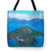 Wizard Island From Watchman Overlook In Crater Lake National Park-oregon  Tote Bag