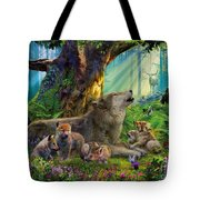 Wolf And Cubs In The Woods Tote Bag