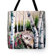Wolf In Woods Tote Bag