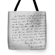 Wolfe Letter, 1759 Tote Bag