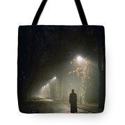 Woman Alone On A Park Avenue Tote Bag