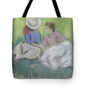 Woman And Girl On The Grass Tote Bag