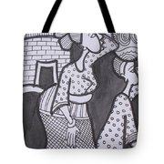 Woman And Her Son Are Coming From Farm Tote Bag