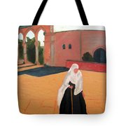 Woman At The Wall Tote Bag