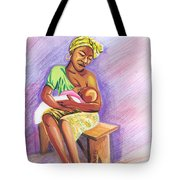 Woman Breastfeeding Bay In Rwanda Tote Bag