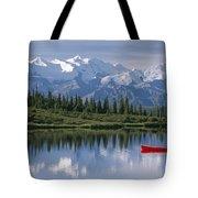 Woman Canoeing In Wonder Lake Alaska Tote Bag