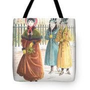 Woman Carrying Bunch Of Mistletoe Tote Bag
