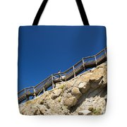 Woman Climbing Stairs Tote Bag