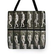 Woman Descending Steps Tote Bag by Eadweard Muybridge