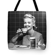 Woman Drinking Nescafe Tote Bag by Underwood Archives