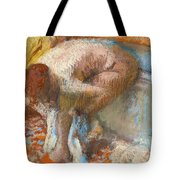 Woman Drying Her Feet Tote Bag
