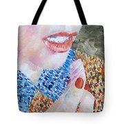 Woman Eating Marshmallow- Oil Portrait Tote Bag