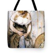 Woman Fastening Her Garter Tote Bag