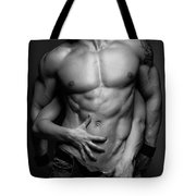 Woman Hands Touching Muscular Man's Body Tote Bag