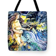 Woman Holding An Acorn -  Tote Bag by Trudi Doyle