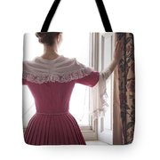 Woman In 18th Century Dress At The Window Tote Bag
