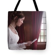 Woman In A Regency Dress Reading A Letter Tote Bag