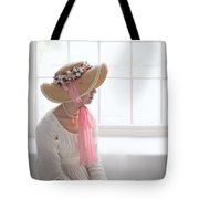 Woman In A Regency Period Empire Line Dress With Straw Bonnet Si Tote Bag
