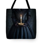 Woman In A Victorian Mourning Dress Holding A Candle Tote Bag