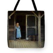 Woman In Cabin Doorway Tote Bag