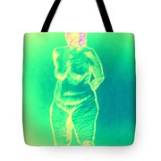 Woman In Green Tote Bag