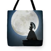 Woman In Historical Clothing On A Cliff With Full Moon Tote Bag