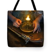 Woman In Historical Gown With Candle And Flintlock Pistol Tote Bag