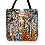Woman In Red In Fall Rainy Day Tote Bag