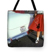 Woman In Red Poodle Skirt And Saddle Tote Bag