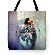 Woman In Silver Mask Tote Bag