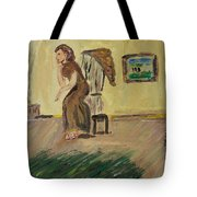 Woman In The Art Gallery Tote Bag