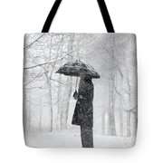 Woman In The Forest With An Umbrella Tote Bag