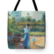 Woman In The Garden Tote Bag