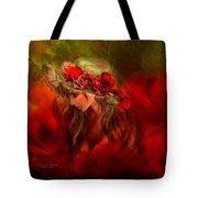 Woman In The Poppy Hat Tote Bag