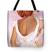 Woman In White Tote Bag