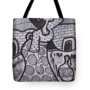 Woman Is Coming From The Farm With Firewood On Her Head Tote Bag
