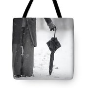 Woman Leaning On An Umbrella Tote Bag