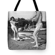 Woman Learning To Water Ski Tote Bag