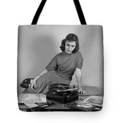 Woman Listening To Records Tote Bag