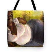Woman Lying Down In Jeans Tote Bag