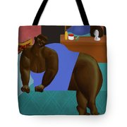 Woman Lying On Turquoise Bed Tote Bag